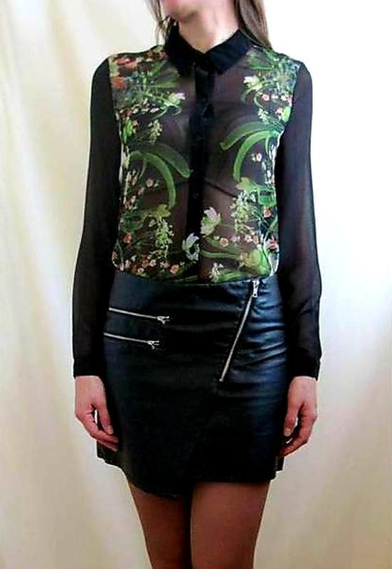 Шифоновая женская блуза цветочный принт блузка длинный рукав