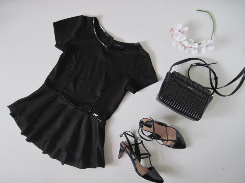 Женская блуза с баской MOHITO вставки из кожзама кофточка блузка