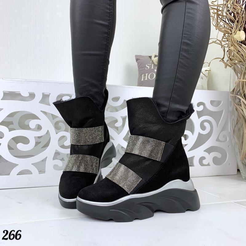 Натуральная замша люксовые замшевые зимние ботинки на грубой п...