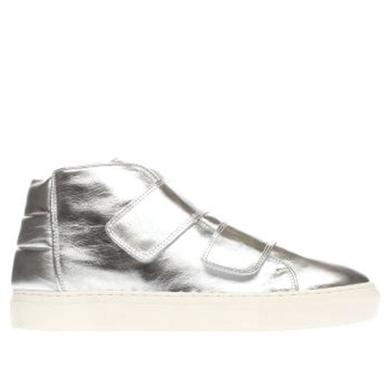 Стильные кожаные серебряные туфли слипоны momentum