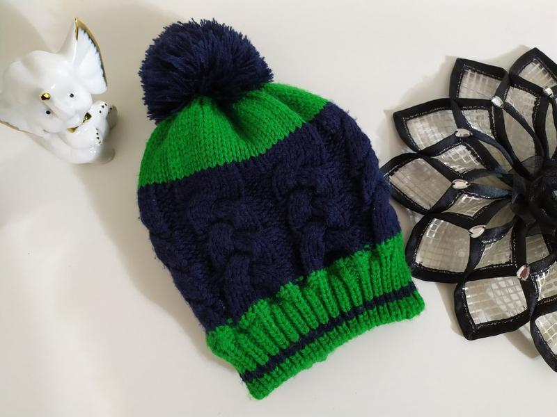 Стильная зимняя шапка синяя зеленая от 2 до 5 лет