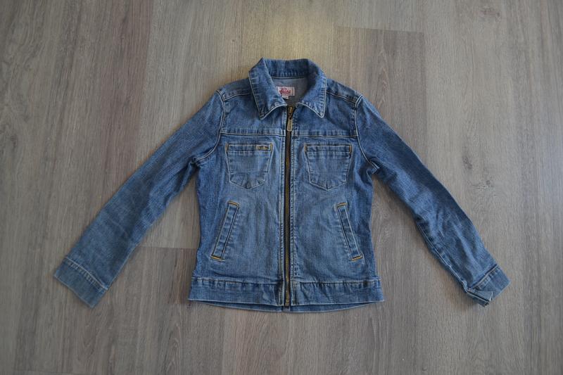 Джинсовая куртка на молнии ф. crocker на 8-10 лет в отличном с...