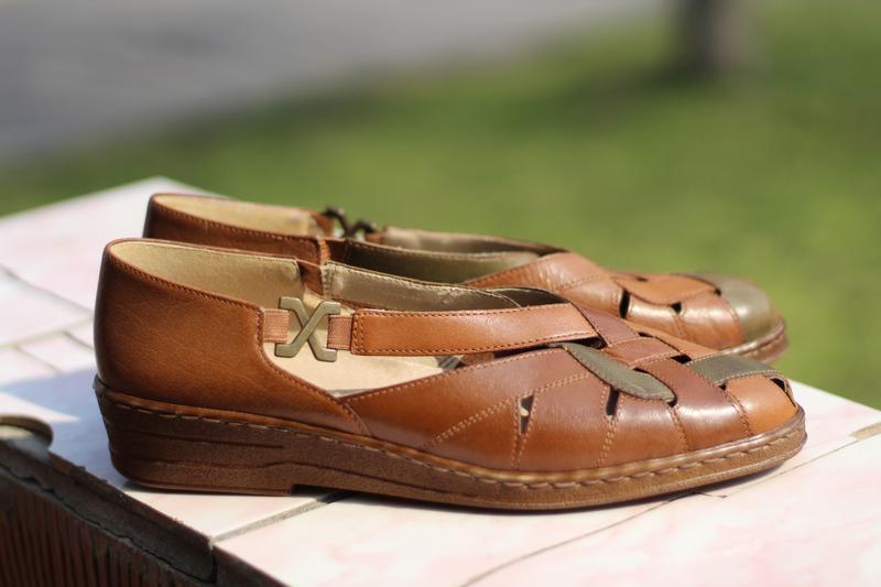 Стильные кожаные босоножки jana - Фото 2