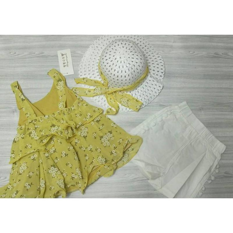 Костюм летний на девочку с шляпкой желтый - Фото 5