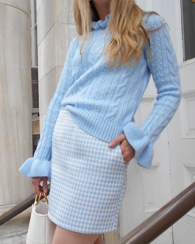 Женский голубой свитер H&M с рюшами вязка косы кофта