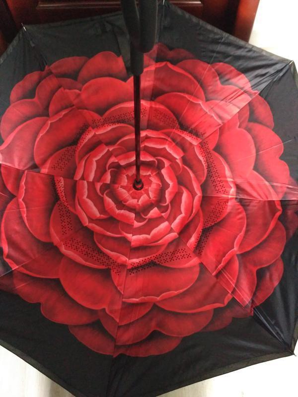 Смарт зонт. шикарный красный цветок