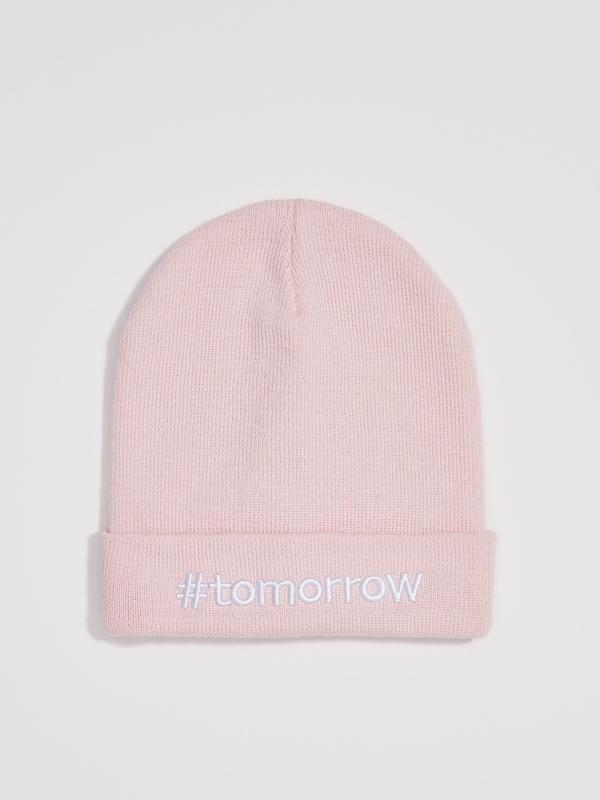 Новая розовая шапка светло-розовая пудра польша вышитая надпис...