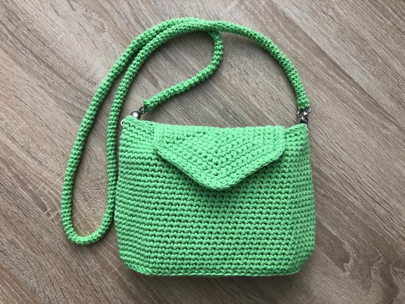 Летняя эко-сумка кроссбоди из хлопка вязаный клатч