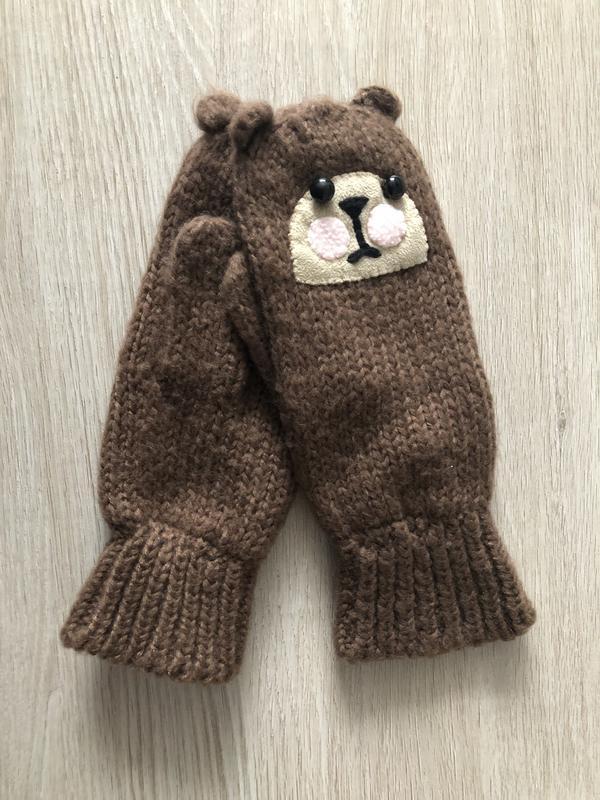 Варежки рукавицы с мордой мишки