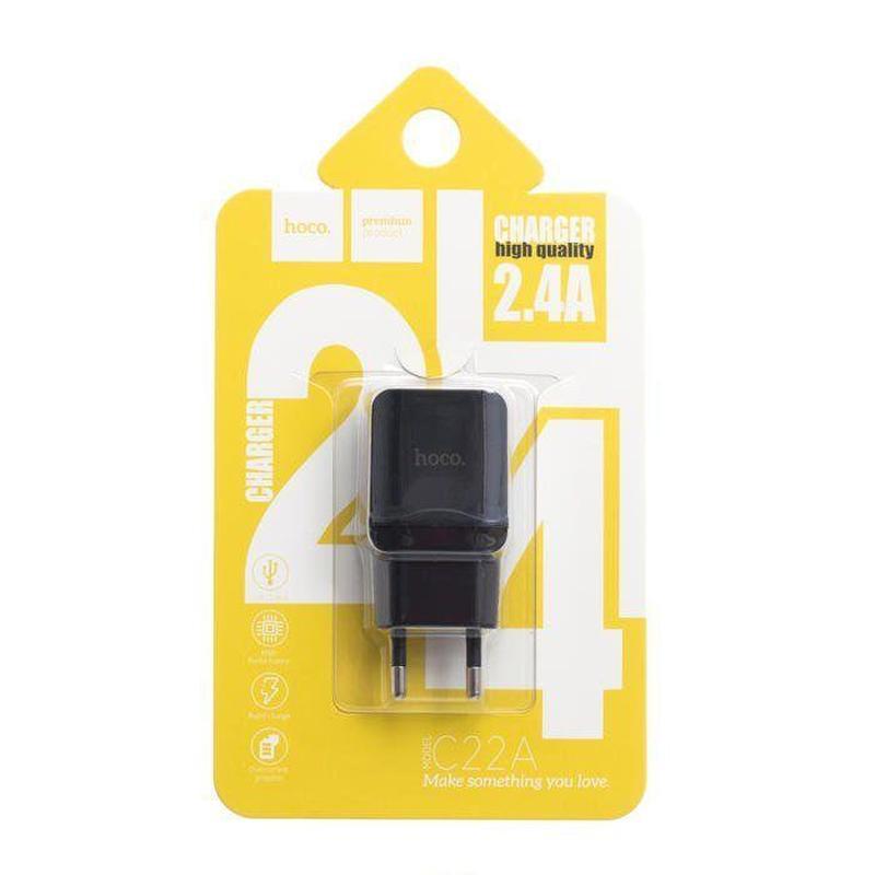 Мережевий зарядний пристрій Hoco C22A  Чорний
