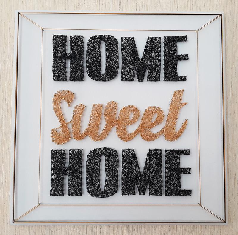 Картина нитками, стринг арт home sweet home, декор золотой, из...