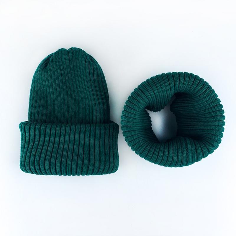 Комплект набор шапка + хомут рубчик шерсть зелёный
