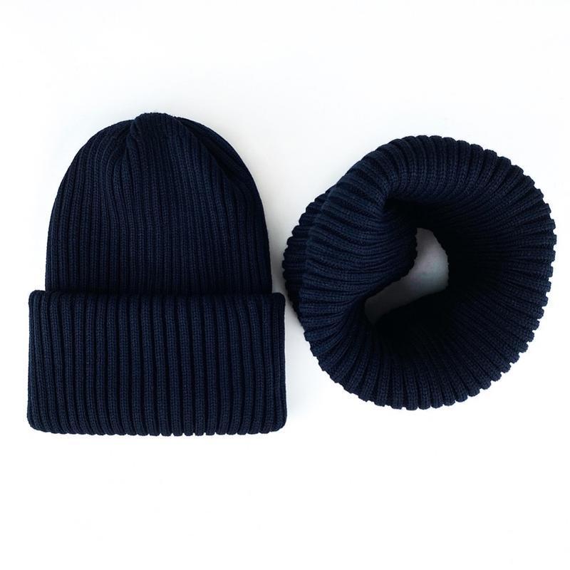 Комплект набор шапка + хомут шерсть темно синий