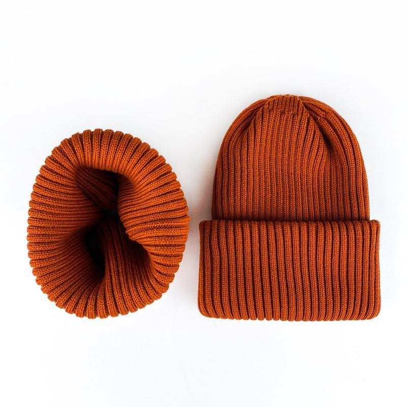 Комплект набор шапка + хомут шерсть терракот