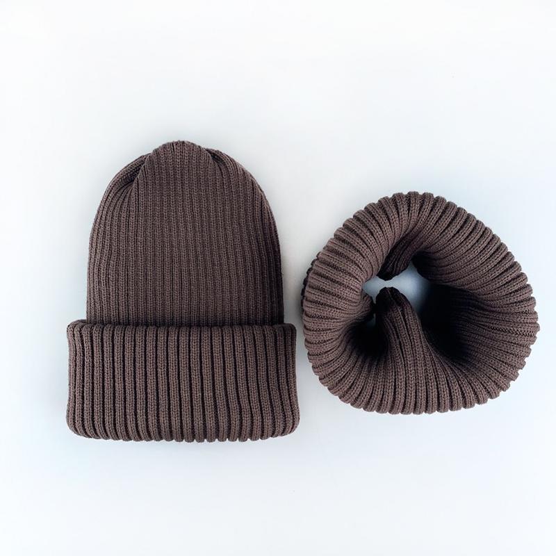 Комплект набор кофейный шапка + хомут шерсть
