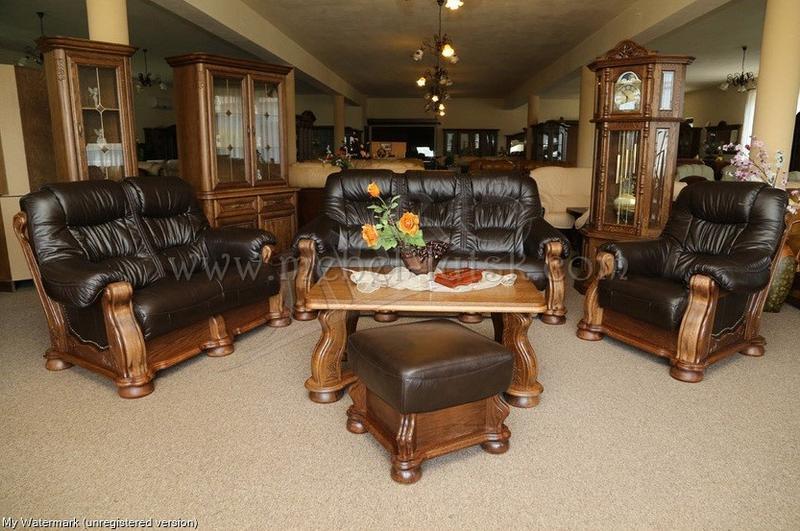 Новий шкіряний диван 3-ка 2-ка та крісло Cezar, Шкіряні меблі