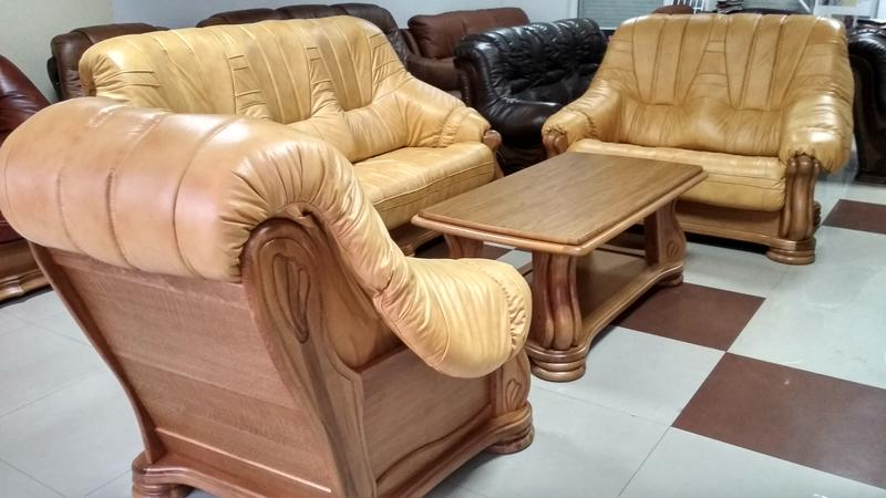 Новый кожаный комплект 3+2+1 диваны кресло Польша кожаная мебель