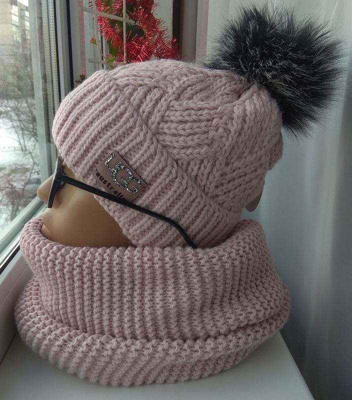 Новый комплект: шапка на флисе с бубоном и хомут, розовая пудра