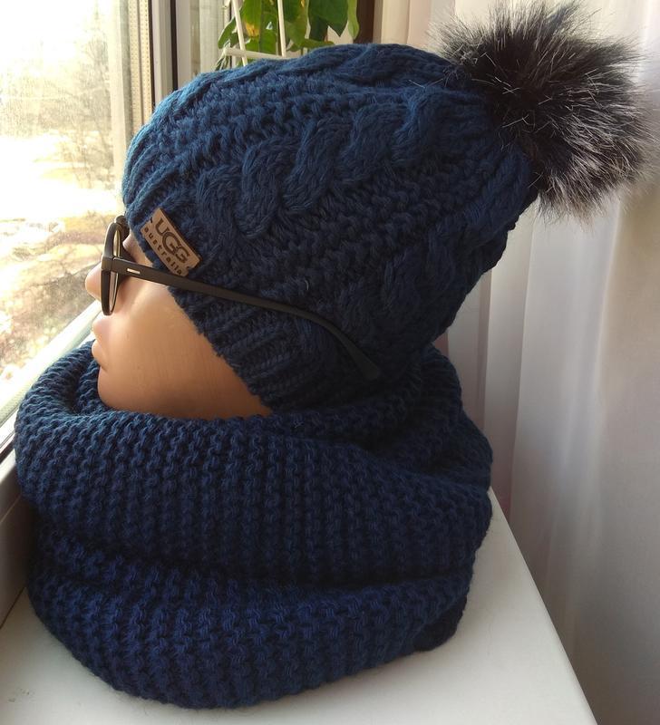 Новый стильный комплект: шапка на флисе с бубоном и хомут, тем...