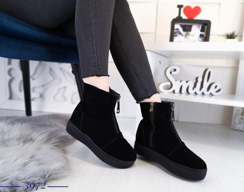 Зимние замшевые ботинки на меху, зимние ботинки с замком 37,40р.