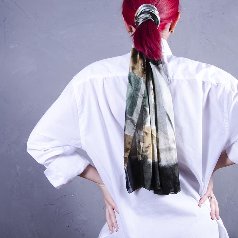 Повязка на волосы, тонкий шарф шифоновый, длинный платок для в...