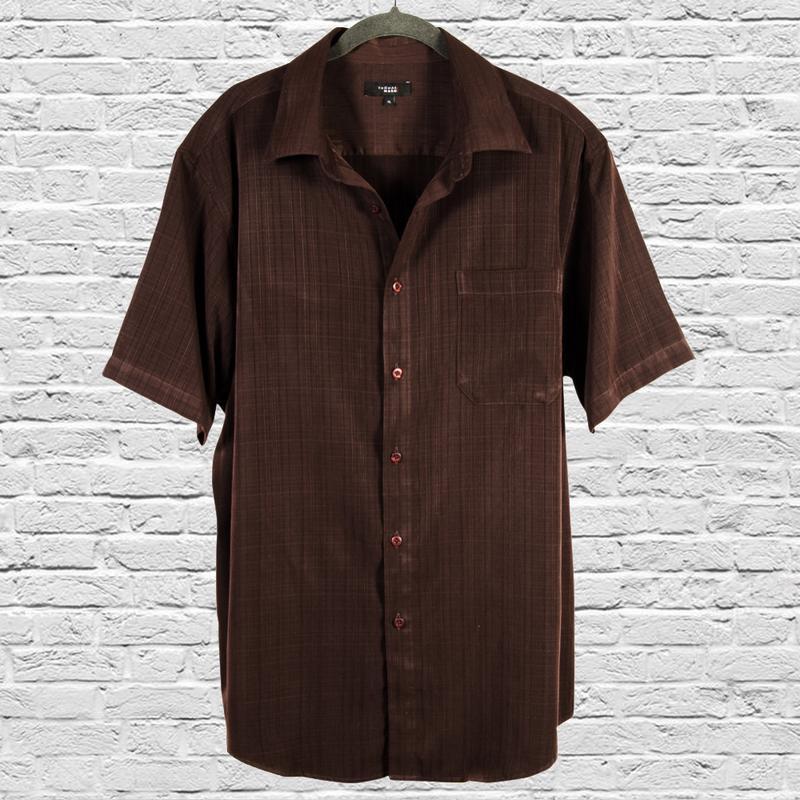 Длинная рубашка с коротким рукавом, коричневая рубашка оверсай...