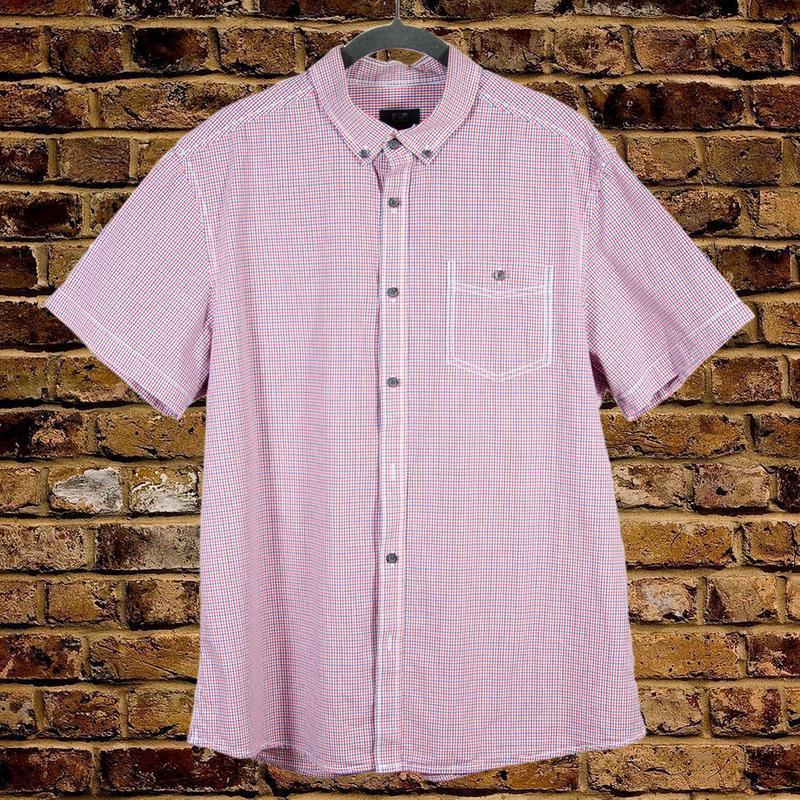 Мужская рубашка в мелкую клетку, летняя рубашка короткий рукав