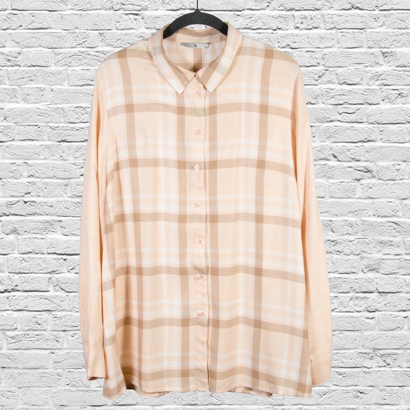 Женская рубашка в клетку, бежевая рубашка оверсайз, свободная ...