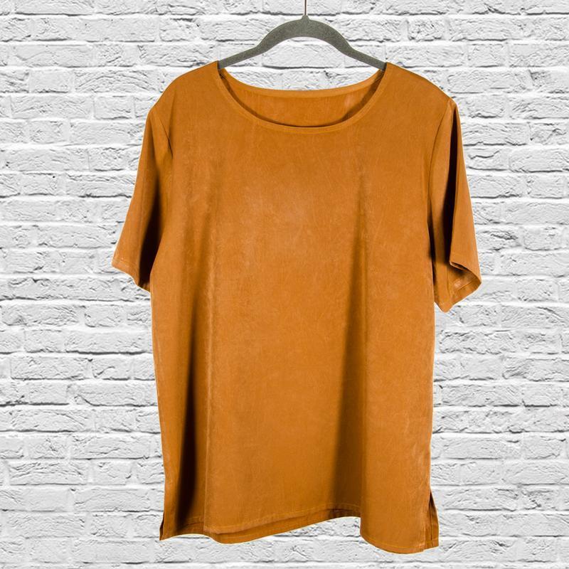 Коричневая блуза с коротким рукавом, блуза минимализм, футболк...