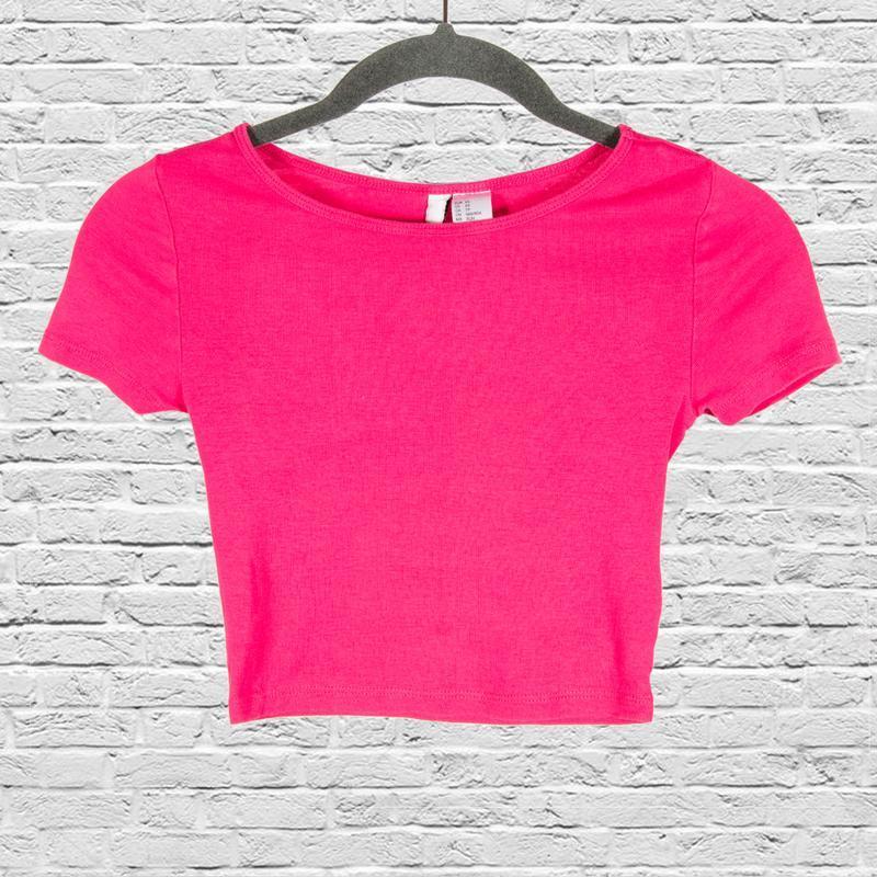 Розовый кроп топ, спортивный топ футболка, розовая футболка ко...
