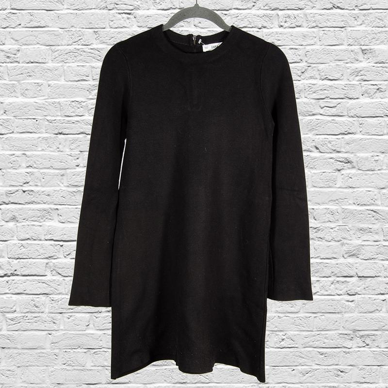 Черное теплое платье короткое, осеннее платье черное, демисезо...