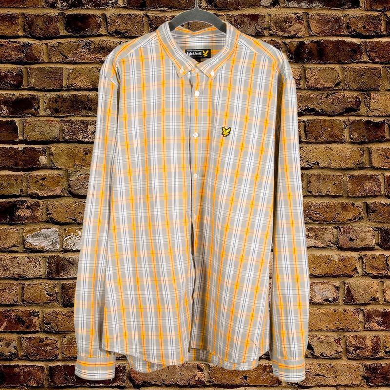 Мужская рубашка в клетку, клетчатая рубашка серо-желтая
