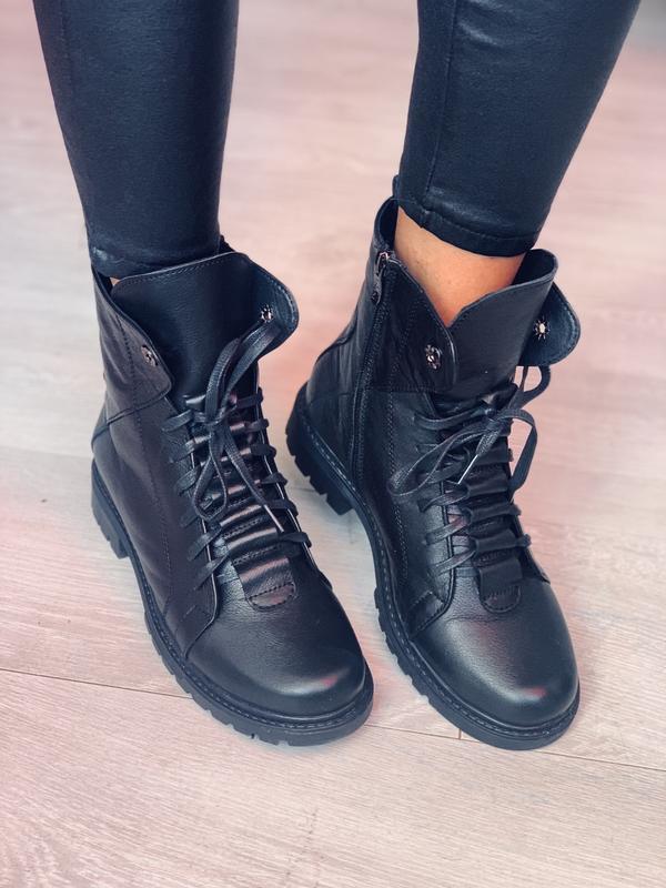 Женские зимние кожаные ботинки топ качества