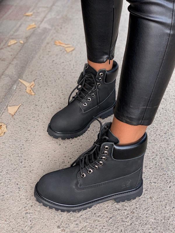 Ботинки timberland 6 inch premium black термо  (осень)