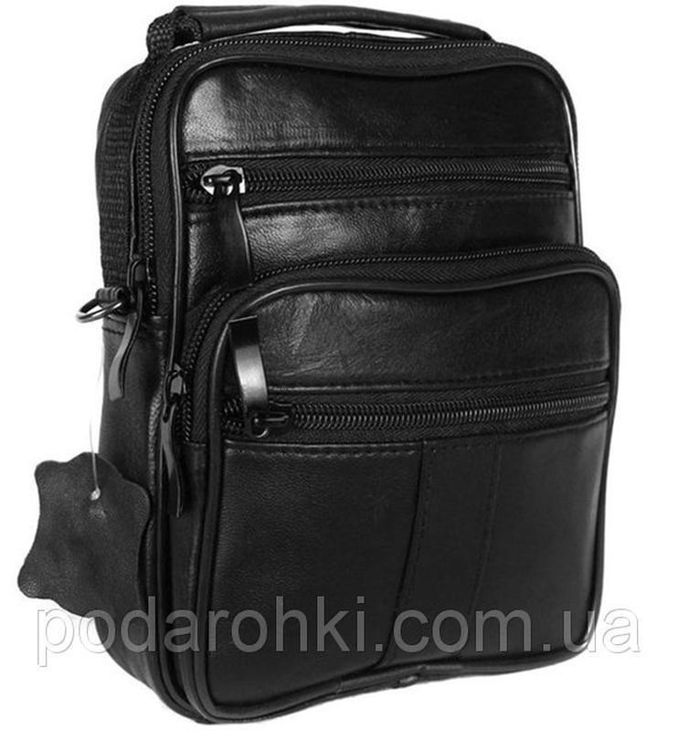 Кожаная мужская сумка 8655 черная барсетка через плечо кожа 19...