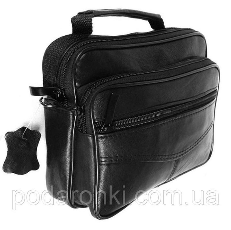 Кожаная мужская сумка 8664 черная барсетка через плечо кожа 16...