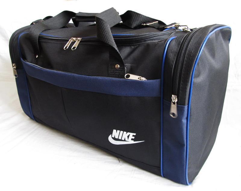 Дорожная сумка через плечо спортивная черная с синим модель 11...