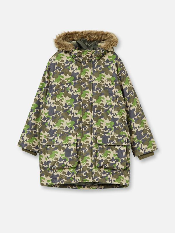 Камуфляжная, удлиненная куртка-парка, 7-8 лет, рост 128