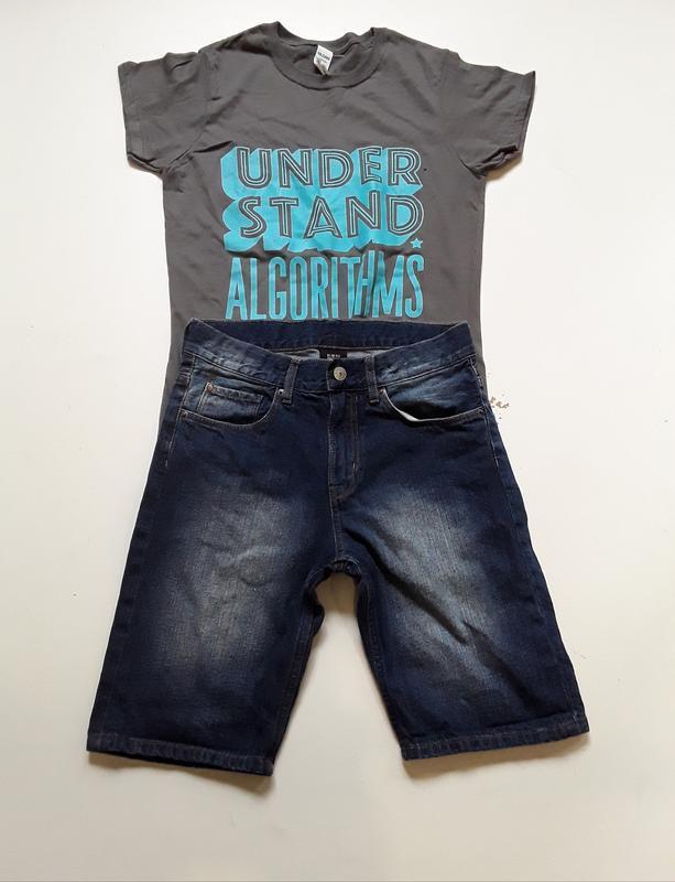 Джинсовые шорты  футболка в подарок  146 рост