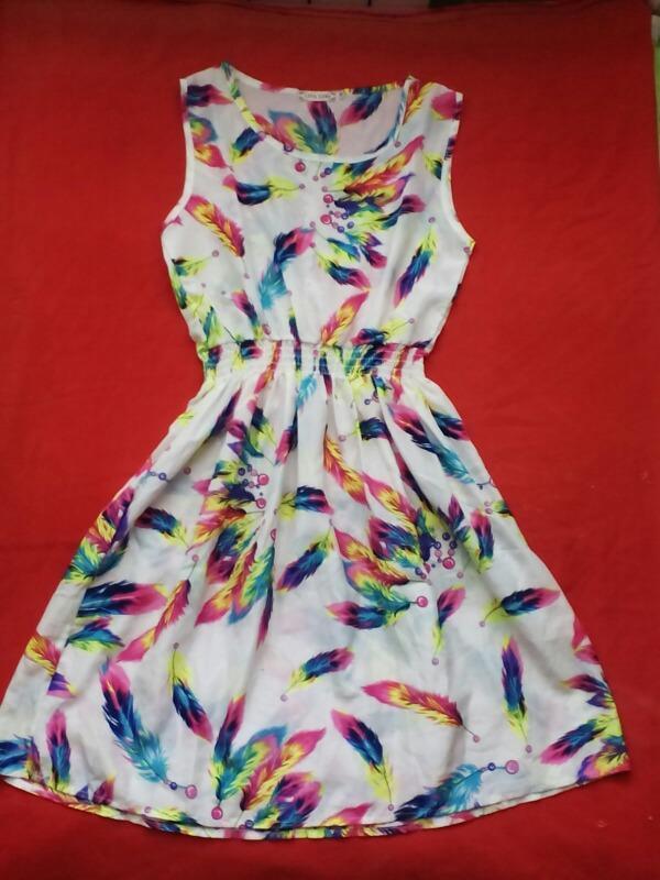 Платье сарафан принт перья