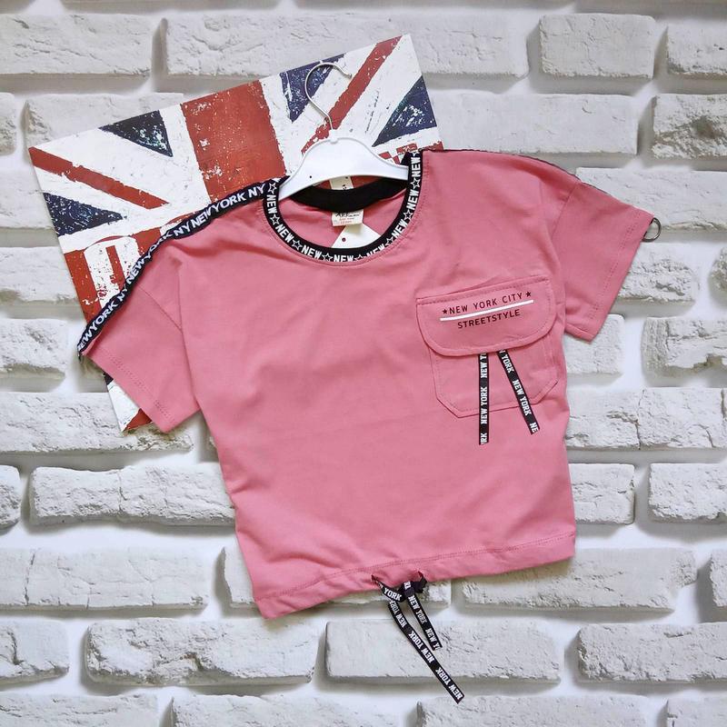 Короткие футболки на завязках для девочек 10-14 лет