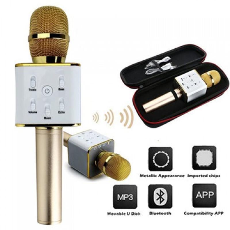 Bluetooth микрофон для караоке Q7 Блютуз микро + ЧЕХОЛ Черный - Фото 3