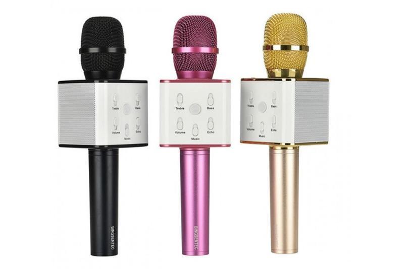 Bluetooth микрофон для караоке Q7 Блютуз микро + ЧЕХОЛ Черный - Фото 9