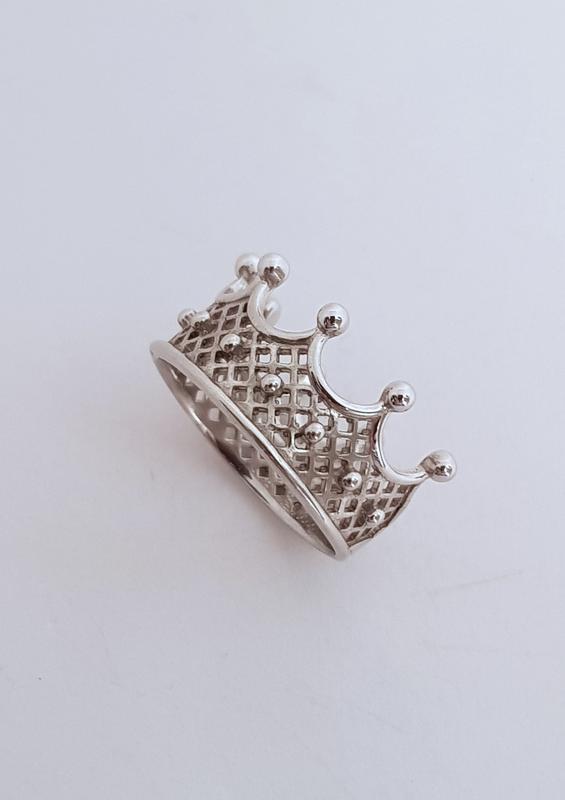 Серебряное кольцо корона 925 проба