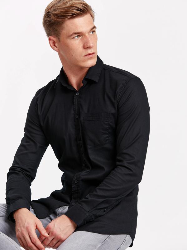 Черная мужская рубашка lc waikiki / лс вайкики на черных пугов... - Фото 2
