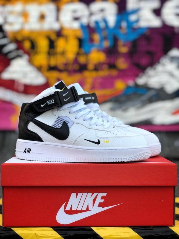 Кроссовки Nike Air Force унисекс.Купить белые с черным найк форс - Фото 7