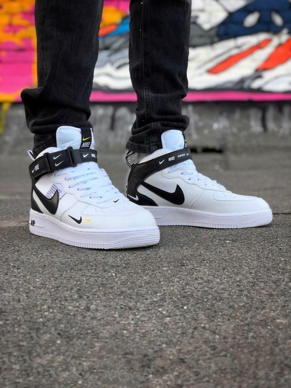 Кроссовки Nike Air Force унисекс.Купить белые с черным найк форс - Фото 2