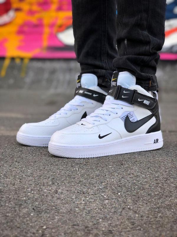 Кроссовки Nike Air Force унисекс.Купить белые с черным найк форс - Фото 10