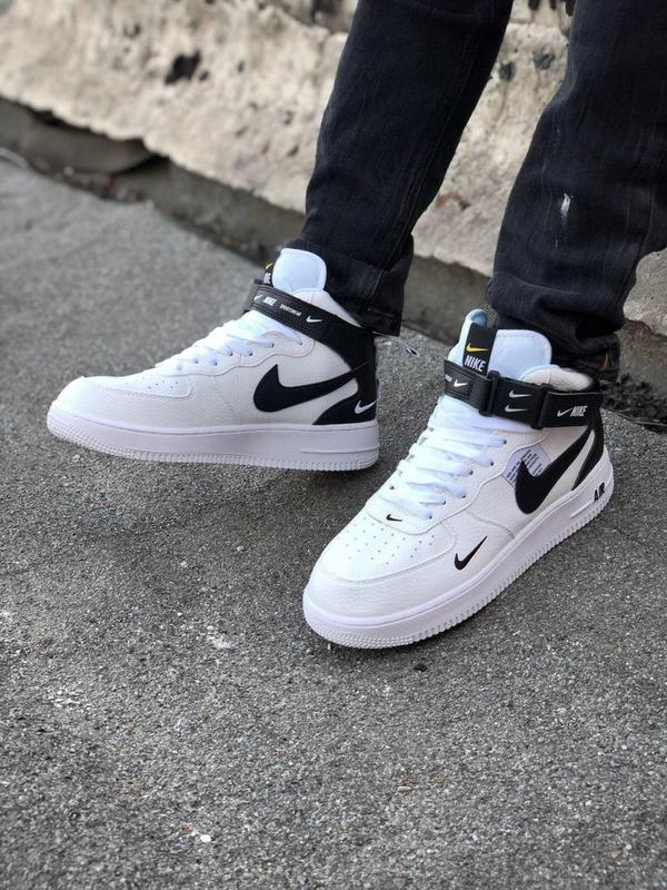 Кроссовки Nike Air Force унисекс.Купить белые с черным найк форс - Фото 11