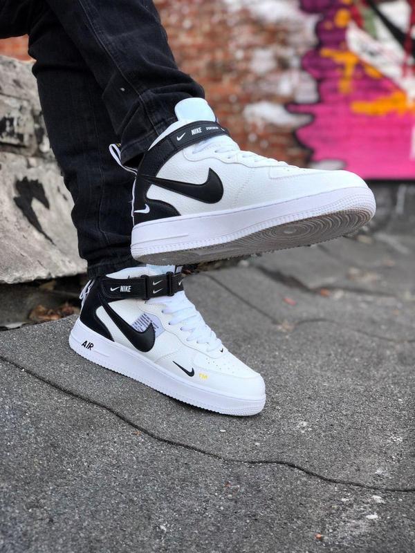 Кроссовки Nike Air Force унисекс.Купить белые с черным найк форс - Фото 3